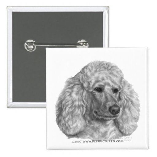 Holly, White Poodle 2 Inch Square Button