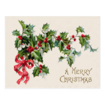 Holly Winterberry Red Ribbon Postcard
