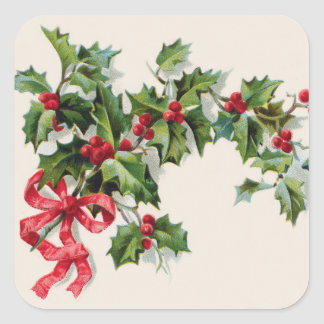Holly Winterberry Red Ribbon Square Sticker