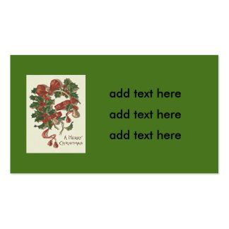 Holly Wishbone Red Ribbon Winterberry Business Card