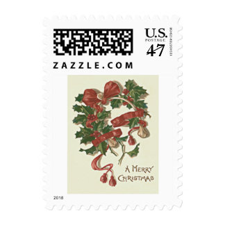 Holly Wishbone Red Ribbon Winterberry Postage