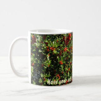 Holly with berries mugs