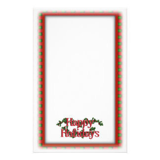 Holly with Berries & Text Customized Stationery