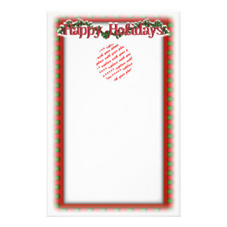 Holly with Berries & Text Personalized Stationery