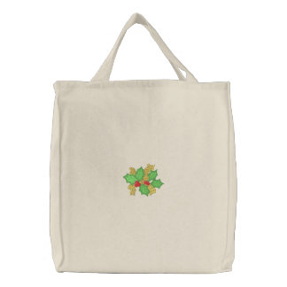 Holly with ribbon embroidered tote bag