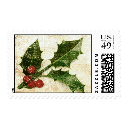 Holly With Weathered Background Postage