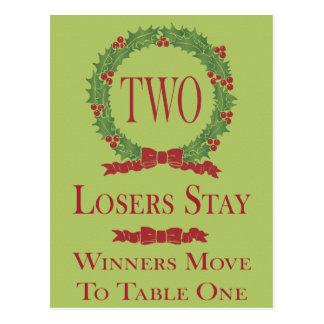 Holly Wreath Bunco Table Card #2 Postcard