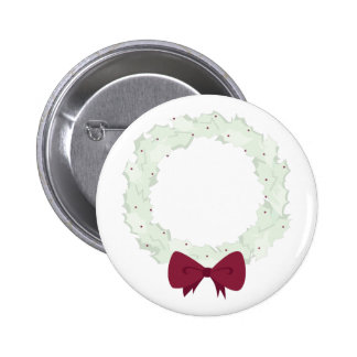 Holly Wreath Pinback Button