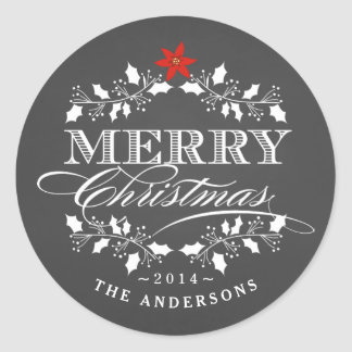 Holly Wreath Christmas Chalkboad Typography Label Classic Round Sticker