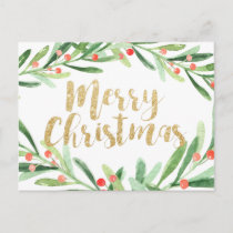 Holly Wreath Christmas Holiday Postcard