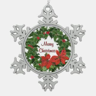 Holly Wreath Christmas Snowflake Ornament