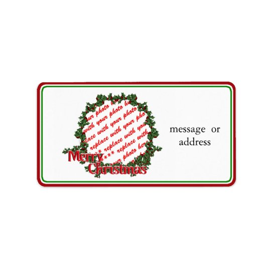 Holly Wreath Circle Photo Frame Label