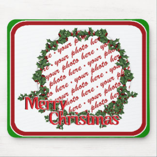 Holly Wreath Circle Photo Frame Mouse Pad