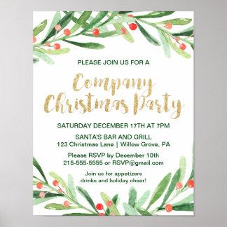 Holly Wreath Company Christmas Party Invitation Poster