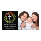 Holly Wreath Cross Christian Christmas Custom Photo Card