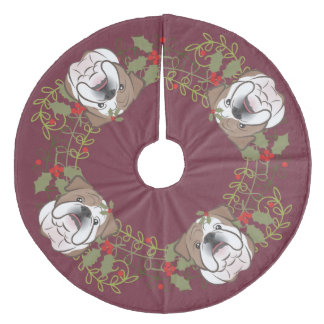 Holly Wreath English Bulldog Christmas Tree Skirt