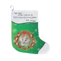 Holly Wreath Frame ADD YOUR CAT PHOTO Personlized Large Christmas Stocking