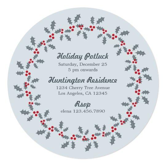 Holly Wreath Holiday Potluck Party Invitation Card