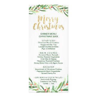 Holly Wreath Merry Christmas Dinner Menu Card