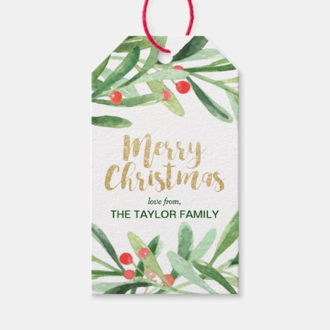 Holly Wreath Merry Christmas Gift Tags