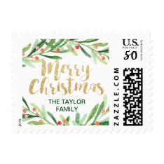 Holly Wreath Merry Christmas Postage at Zazzle