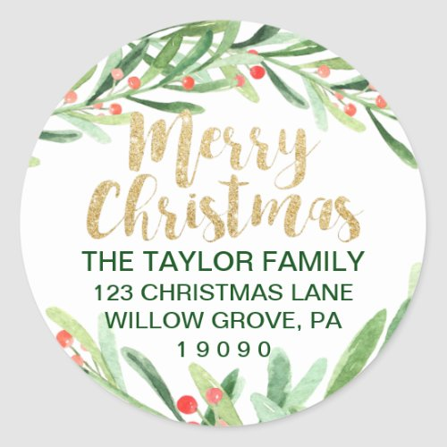Holly Wreath Merry Christmas Return Address Classic Round Sticker