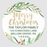 """Holly Wreath Merry Christmas Return Address Classic Round Sticker<br><div class=""""desc"""">These holly wreath merry christmas return address stickers are perfect for a classic holiday card or invitation envelope. The design features a watercolor green wreath with red berries and an elegant faux gold glitter font. Please Note: This design does not feature real gold glitter. It is a high quality graphic...</div>"""
