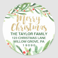 Holly Wreath Merry Christmas Return Address Classic Round Sticker at Zazzle