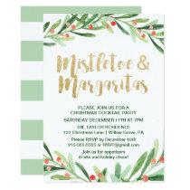 Holly Wreath Mistletoe & Margaritas Cocktail Party Card
