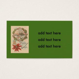 Holly Wreath Poinsettia Winter Cabin Yuletide Business Card
