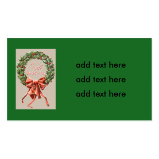 Holly Wreath Red Ribbon Merry Christmas Double-Sided Standard Business Cards (Pack Of 100)