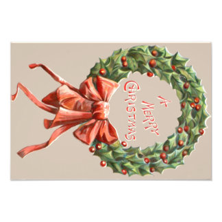 Holly Wreath Red Ribbon Merry Christmas Photo Print