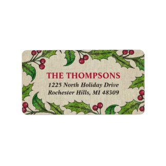 Holly Wreath | Return Address Labels