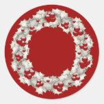 Holly Wreath Round Sticker