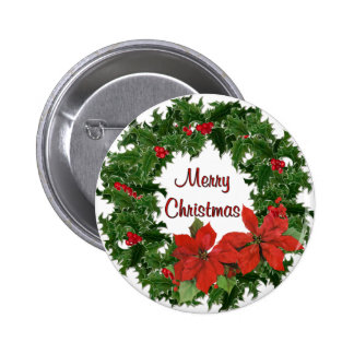Holly Wreath Traditions 2 Inch Round Button