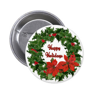 Holly Wreath Traditions Button