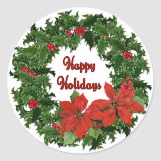 Holly Wreath Traditions Classic Round Sticker