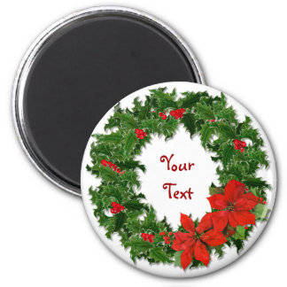 Holly Wreath Traditions Refrigerator Magnet