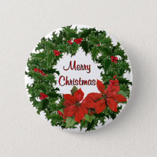 Holly Wreath Traditions Pinback Button