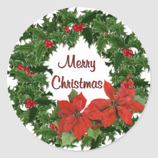 Holly Wreath Traditions Sticker