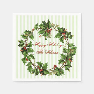 Holly Wreath Vintage Personalized Christmas Paper Napkin