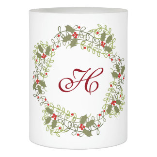 Holly Wreath with Monogram Flameless Candle