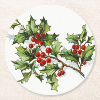 HollyBerries20150802 Round Paper Coaster