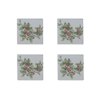 HollyBerries20150802 Stone Magnet