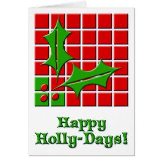 HollyDays rojo y verde Tarjeta De Felicitación