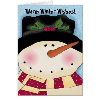 hollyhatsnowmancard, Warm Winter Wishes! Card