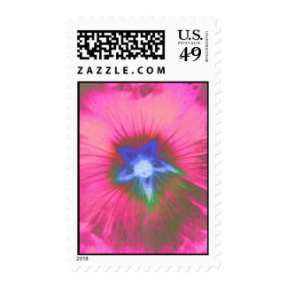 Hollyhcok Flower Pink Velvet Postage Stamp