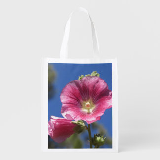 Hollyhock Blooms Reusable Grocery Bags