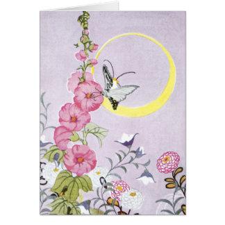 Hollyhock, Dahlia and Balloon Flowers Card