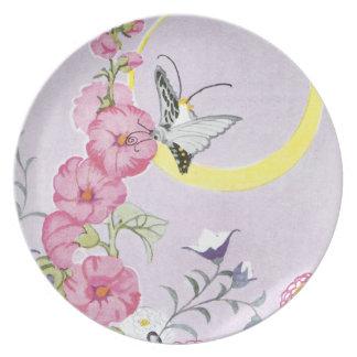 Hollyhock, Dahlia and Balloon Flowers Dinner Plate